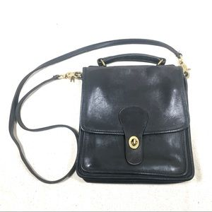 Coach Black Leather Station Willis Bag 0916 USA